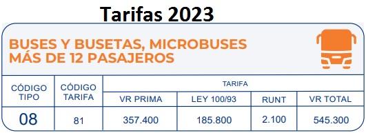 soat 2017 Vehículos de servicio público urbano buses Colombia