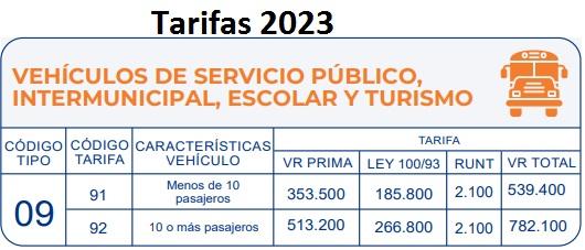 soat 2016 Vehículo de servicio intermunicipal Colombia
